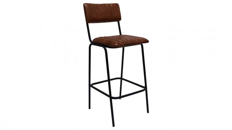 Quilt barstol svartbrunt läder